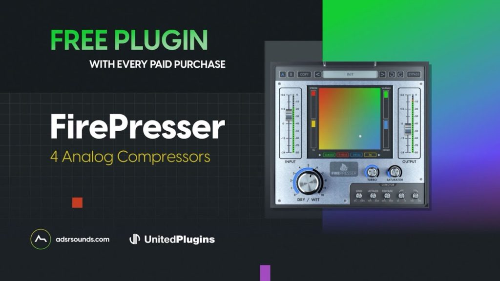 United Plugins 'FIREPRESSER' Compressor (Worth $110) - Free with every purchase until Jun 30th 2